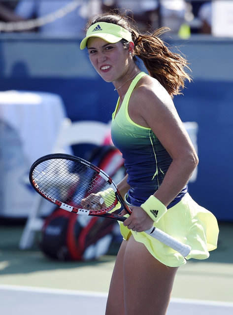 Louisa Chirico celebrates after she defeated Alize Cornet, of France, at the Citi Open tennis tournament, Wednesday, August 5, 2015, in Washington. (Photo by Nick Wass/AP Photo)