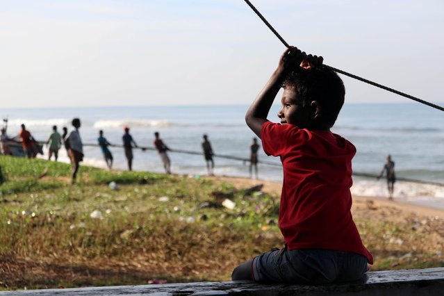 A boy looks on as fishermen pull their fishing net on a beach, in Colombo, Sri Lanka on November 21, 2019. (Photo by Indunil Usgoda Arachchi/Reuters)