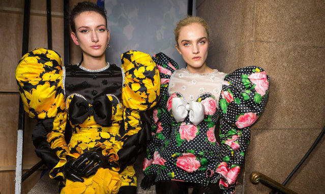 Models backstage ahead of the Richard Quinn show during London Fashion Week February 2020 on February 15, 2020 in London, England. (Photo by Rex Features/Shutterstoc)