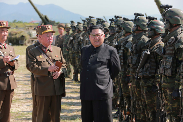 North Korean leader Kim Jong Un guides a target-striking contest of the special operation forces of the Korean People's Army (KPA) to occupy islands in this undated picture provided by KCNA in Pyongyang on August 25, 2017. (Photo by Reuters/KCNA)