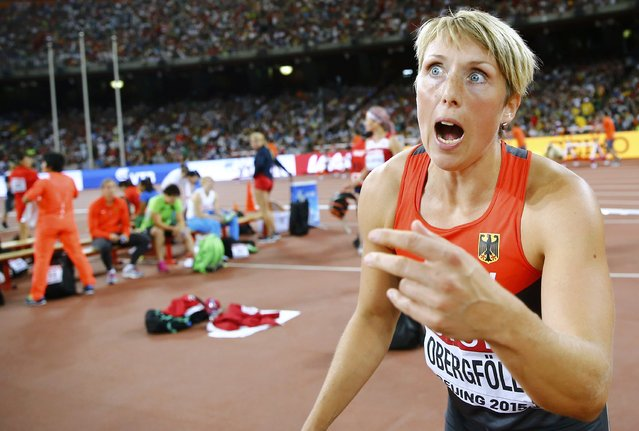 Christina Obergfoell of Germany reacts as she competes in the women's javelin throw qualification during the 15th IAAF World Championships at the National Stadium in Beijing, China August 28, 2015. (Photo by Kai Pfaffenbach/Reuters)