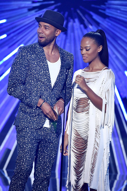 Actors Jussie Smollett (L) and Serayah speak onstage during the 2015 MTV Video Music Awards at Microsoft Theater on August 30, 2015 in Los Angeles, California. (Photo by Kevin Winter/MTV1415/Getty Images For MTV)