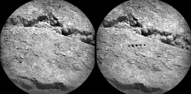 "The Chemistry and Camera (ChemCam) instrument on NASA's Mars rover Curiosity used its laser to examine side-by-side points in a target patch of soil, leaving the marks apparent in this before-and-after comparison. The two images were taken by ChemCam's Remote Micro-Imager from a distance of about 11.5 feet (3.5 meters). The diameter of the circular field of view is about 3.1 inches (7.9 centimeters). Researchers used ChemCam to study this soil target, named ""Beechey,"" during the 19th Martian day, or sol, of Curiosity's mission, August 25, 2012. (Photo by NASA/JPL-Caltech/LANL/CNES/IRAP/LPGN/CNRS)"
