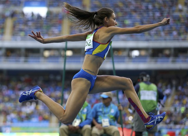 2016 Rio Olympics, Athletics, Preliminary, Women's Triple Jump Qualifying Round, Groups, Olympic Stadium, Rio de Janeiro, Brazil on August 13, 2016. Cristina Bujin (ROU) of Romania competes. (Photo by Ivan Alvarado/Reuters)