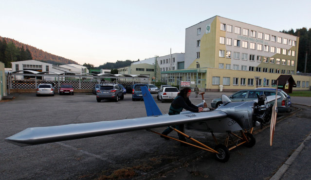 Aviator Frantisek Hadrava parks Vampira, an ultralight plane based on the U.S.-design of light planes called Mini-Max, near the town of Ckyne, Czech Republic, August 24, 2016. (Photo by David W. Cerny/Reuters)