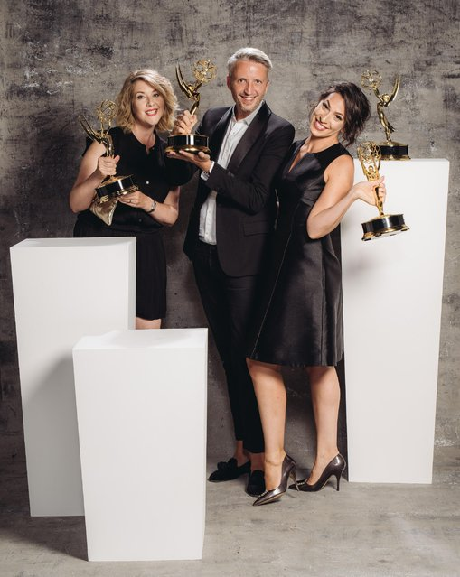 Kristen Comings, Steven Walberg, Stefanie Mohr poses for a portrait at the Television Academy's 67th Emmy Awards Performers Nominee Reception at the Pacific Design Center on Saturday, September 19, 2015 in West Hollywood, Calif. (Photo by Casey Curry/Invision for the Television Academy/AP Images)
