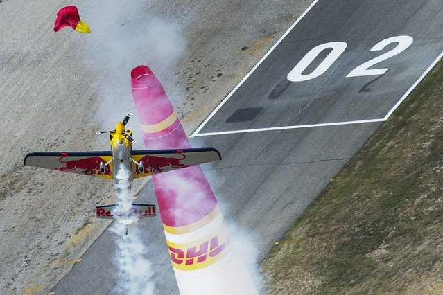 Kirby Chambliss of the United States performs during the training for the sixth stage of the Red Bull Air Race World Championship at the Texas Motor Speedway in Fort Worth, Texas, United States on September 6, 2014. (Photo by Joerg Mitter/Red Bull via Getty Images)