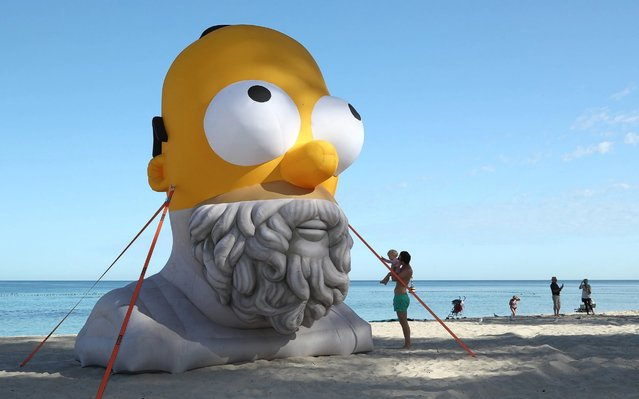 Homer Homer by Cool sh*t (Dave Glass) is seen during Sculpture by the Sea at Cottesloe Beach on March 11, 2020 in Perth, Australia. (Photo by Paul Kane/Getty Images)