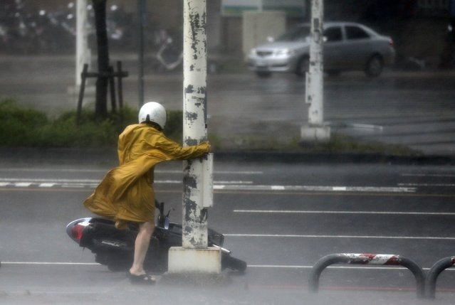 A motorist holds on to a post as she braves high winds and rain of Super Typhoon Meranti in Kaohsiung, southern Taiwan, 14 September 2016. The storm is the strongest recorded since Super Typhoon Haiyan developed in 2013. (Photo by Ritchie B. Tongo/EPA)