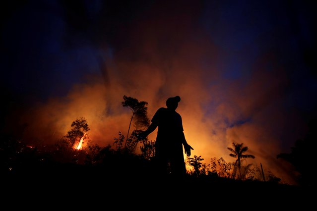 A fire burns as back burning is used to create a firebreak to stop the progress of a fire at a tract of the Amazon jungle in Apui, Amazonas State, Brazil, August 11, 2020. Fires in the Brazilian Amazon have surged so far in August, outstripping the same period of 2019 and renewing concerns about the forest's destruction. (Photo by Ueslei Marcelino/Reuters)