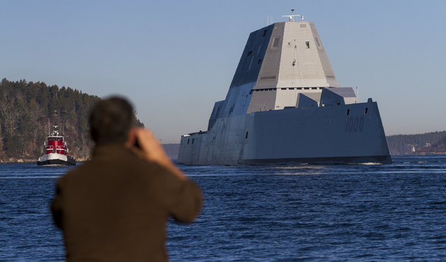 The U.S. Navy's newest destroyer, Zumwalt, sails down the Kennebec River toward the Atlantic for a series of sea trials after leaving Bath Iron Works on December 7, 2015. (Photo by Ben McCanna/Portland Press Herald via Getty Images)
