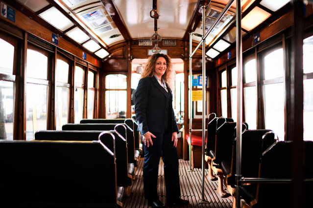 Ana Cristina, 44, tram driver for 20 years, poses for a portrait inside a tram in Lisbon, Spain on February 28, 2018. (Photo by Patricia de Melo Moreira/AFP Photo)