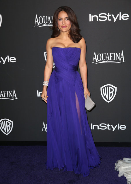 Salma Hayek arrives at the 16th annual InStyle and Warner Bros. Golden Globes afterparty at the Beverly Hilton Hotel on Sunday, Jan. 11, 2015, in Beverly Hills, Calif. (Photo by Matt Sayles/Invision/AP Photo)
