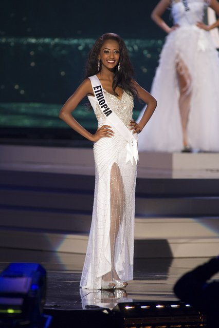 Hiwot Bekele, Miss Ethiopia 2014 competes on stage in her evening gown during the Miss Universe Preliminary Show in Miami, Florida in this January 21, 2015 handout photo. (Photo by Reuters/Miss Universe Organization)