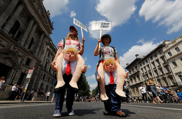 Demonstrators protest against the visit of U.S. President Donald Trump, in central London, Britain, July 13, 2018. (Photo by Yves Herman/Reuters)
