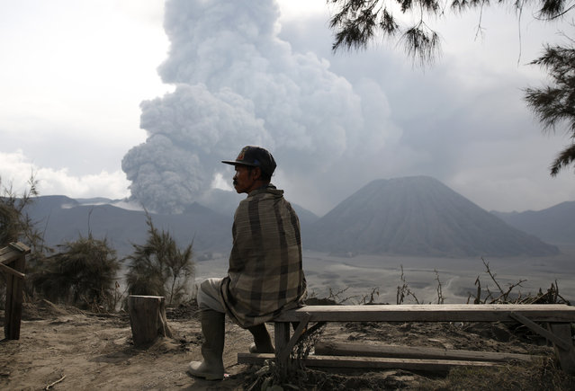 A local resident rests on a bench as Mount Bromo volcano erupts in the background in Ngadisari, Probolinggo, East Java, Indonesia January 5, 2016. (Photo by Darren Whiteside/Reuters)