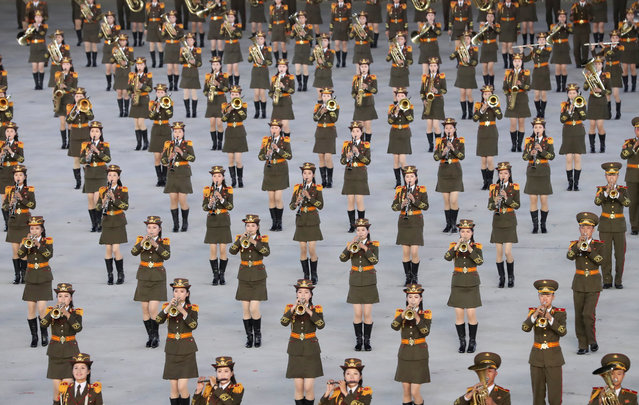 North Koreans perform during an event, as part of the Inter-Korean summit, at the May Day stadium in Pyongyang, North Korea, 19 September 2018 (issued 20 September 2018). The third Inter-Korean summit takes place from 18 to 20 September in Pyongyang between South Korean President Moon Jae-in and North Korean leader Kim Jong-un. (Photo by EPA/EFE/Pyongyang Press Corps)