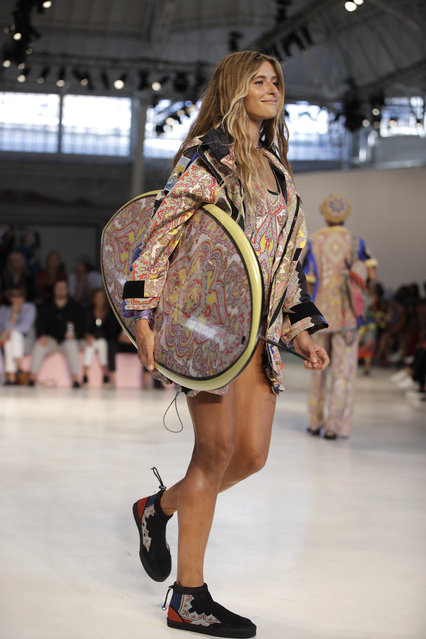 A model wears a creation as part of the Etro women's 2019 Spring-Summer collection, unveiled during the Fashion Week in Milan, Italy, Friday, September 21, 2018. (Photo by Luca Bruno/AP Photo)