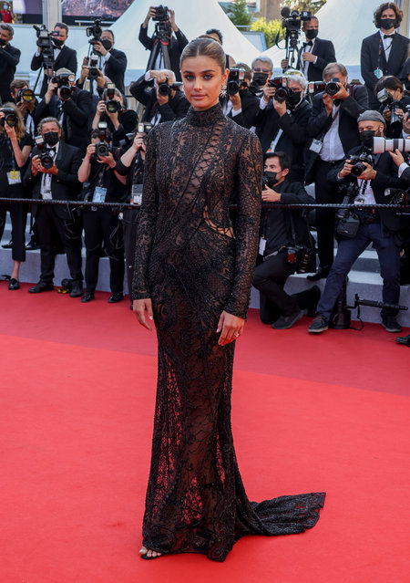 """American model Taylor Hill attends the """"De Son Vivient (Peaceful)"""" screening during the 74th annual Cannes Film Festival on July 10, 2021 in Cannes, France. (Photo by Mike Marsland/WireImage)"""
