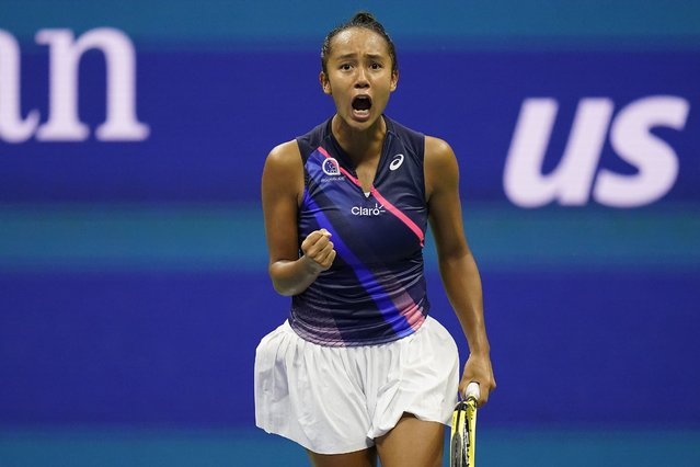 Leylah Fernandez, of Canada, reacts after scoring a point against Aryna Sabalenka,of Belarus, during the semifinals of the US Open tennis championships, Thursday, September 9, 2021, in New York. (Photo by Seth Wenig/AP Photo)
