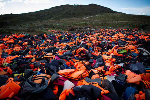 Hundreds of used life vests lie on a makeshift rubbish dump hidden in the hills above the town on March 10, 2016 in Mithymna, Greece. (Photo by Alexander Koerner/Getty Images)