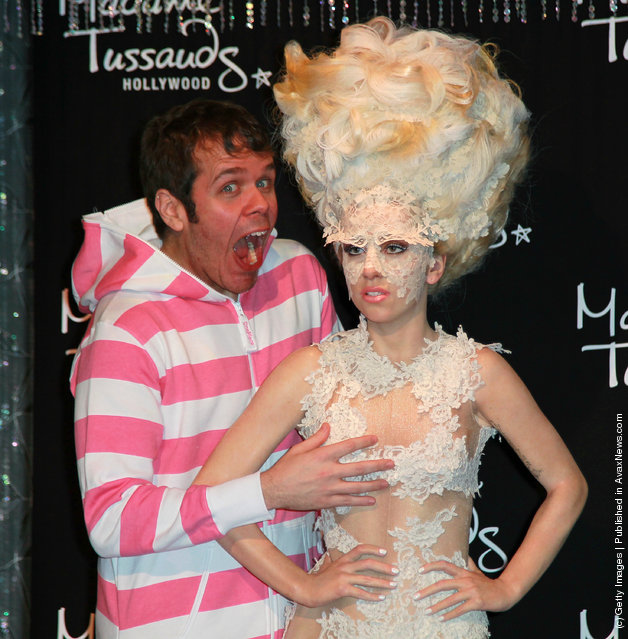 Celebrity blogger Perez Hilton unveils Lady Gaga's wax figure