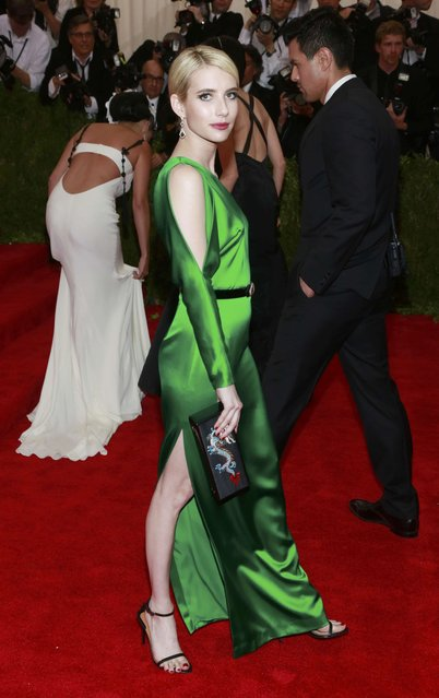 "U.S. actress Emma Roberts arrives for the Metropolitan Museum of Art Costume Institute Gala 2015 celebrating the opening of ""China: Through the Looking Glass"" in Manhattan, New York May 4, 2015. (Photo by Andrew Kelly/Reuters)"