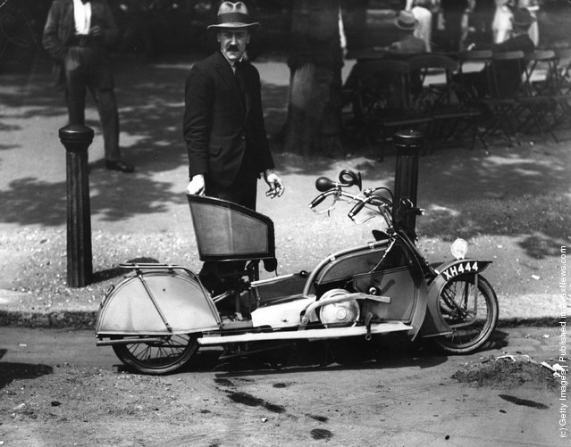 A man with his small, runaround cycle, 1921
