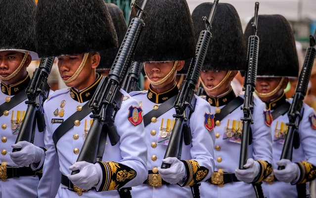 Royal Guards march during the coronation of Royal Coronation of King Rama X on May 4, 2019 in Bangkok, Thailand. Thailand held its first coronation for the first time in nearly seven decades as King Maha Vajiralongkorn, also known as Rama X, was crowned on Saturday following an extended mourning period for King Bhumibol Adulyadej, who died in October 2016 at the age of 88. The elaborate three-day ceremony reportedly cost around $31 million as King Vajiralongkorn circled around parts of Bangkok on a royal palanquin after being presented with a gold 7.3-kilogram crown and a sacred nine-tiered umbrella. (Photo by Linh Pham/Getty Images)
