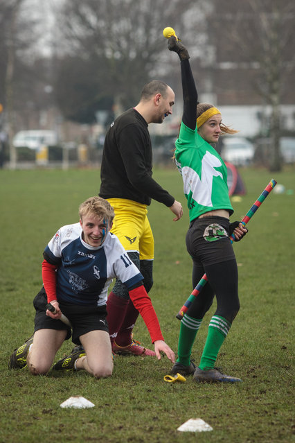 The Keele Squirrels seeker celebrates after catching the snitch during a game against the Radcliffe Chimeras at the Crumpet Cup quidditch tournament on Clapham Common on February 18, 2017 in London, England. (Photo by Jack Taylor/Getty Images)
