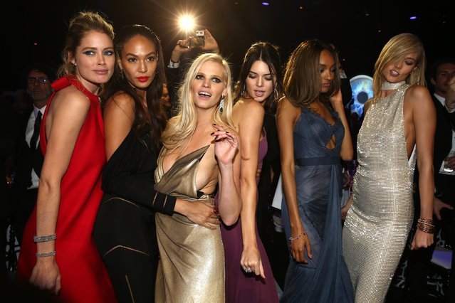 (L-R) Models Doutzen Kroes, Joan Smalls, Lara Stone, Kendall Jenner, Jourdan Dunn and Karlie Kloss onstage during amfAR's 22nd Cinema Against AIDS Gala, Presented By Bold Films And Harry Winston at Hotel du Cap-Eden-Roc on May 21, 2015 in Cap d'Antibes, France. (Photo by Andreas Rentz/Getty Images)