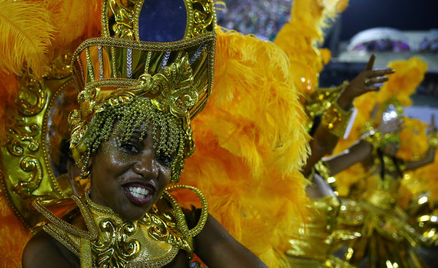 A reveller from Portela samba school performs during the second night of the carnival parade at the Sambadrome in Rio de Janeiro, Brazil February 28, 2017. (Photo by Pilar Olivares/Reuters)