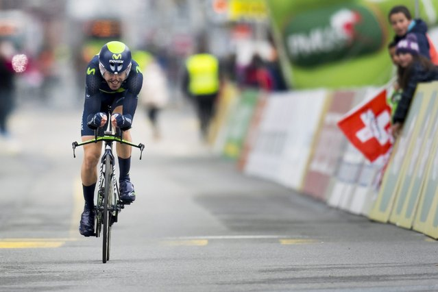 Spanish Ion Izagirre Insausti of team Movistar in action during the prologue, a 3.95 km individual time trial, at the 70th Tour de Romandie cycling race in La Chaux-de-Fonds, Switzerland, 26 April 2016. (Photo by Jean-Christophe Bott/EPA)