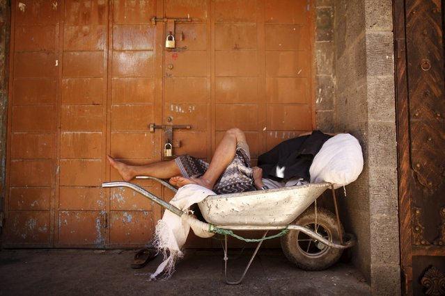 A man sleeps on a wheelbarrow outside a closed shop at a market during the first day of a ceasefire in Yemen's capital Sanaa April 11, 2016. (Photo by Khaled Abdullah/Reuters)