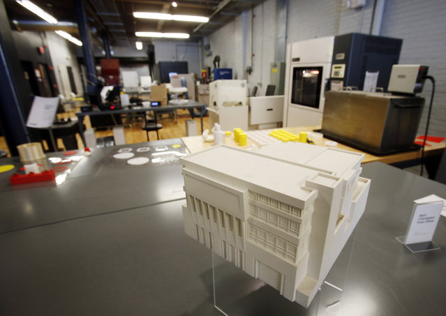 This plastic model of the Charleston, West Virginia post office, was 3D printed and is on display at America Makes, the National Additive Manufacturing Innovation Institute in Youngstown, Ohio, March 5, 2014. (Photo by Jason Cohn/Reuters)