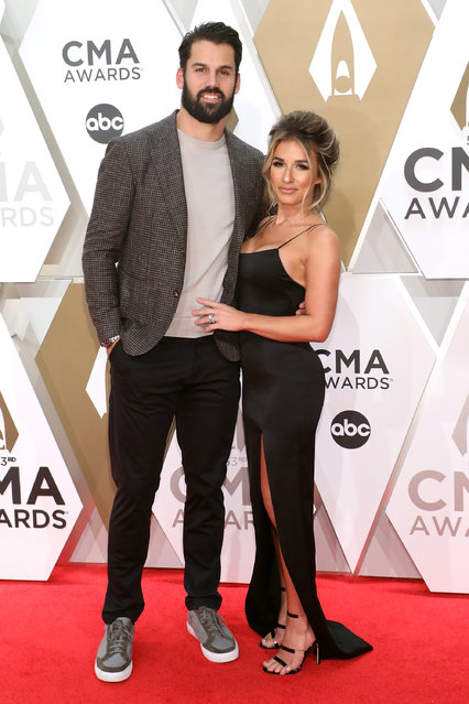 Eric Decker and Jessie James Decker attend the 53nd annual CMA Awards at Bridgestone Arena on November 13, 2019 in Nashville, Tennessee. (Photo by Taylor Hill/Getty Images)