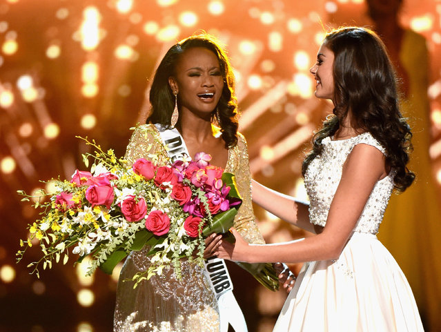 Miss District of Columbia USA 2016 Deshauna Barber (L) is congratulated by Miss Teen USA 2016 Katherine Haik as she is named Miss USA 2016 during the 2016 Miss USA pageant at T-Mobile Arena on June 5, 2016 in Las Vegas, Nevada. (Photo by Ethan Miller/Getty Images)