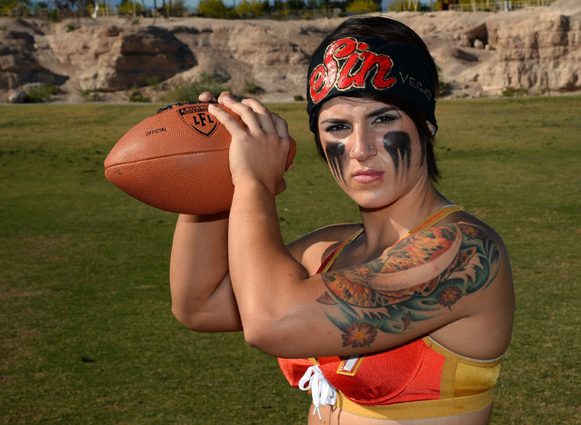 Quarterback Sindy Cummings #7 poses during media day for the Las Vegas Sin of the Legends Football League at Charlie Frias Park on May 13, 2014 in Las Vegas, Nevada. (Photo by Ethan Miller/Getty Images)