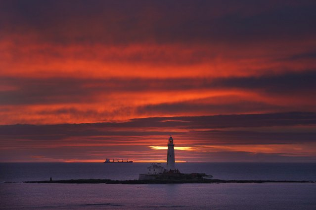 Clear if chilly skies rewarded visitors climbing the 137 steps of St Mary's Lighthouse at Whitley Bay, North Tyneside, on Saturday, December 1, 2018. (Photo by Owen Humphreys/PA Wire Press Association)