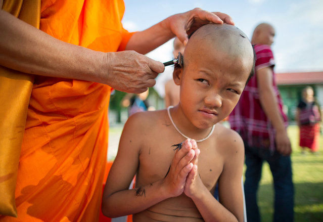 A young hill tribe boy reacts as his hair is shaved off by a Buddhist monk during a head shaving rite as part of mass Buddhist monk ordination ceremony for hill tribe at Wat Benchamabophit, also known as the Marble Temple in Bangkok, Thailand, 23 June 2017 (issued 25 June 2017). The annual ceremony this year has 349 hill tribe men and young boys being ordained as monks and novices at the temple to mark the beginning of the three-month Buddhist Lent or Khao Pansa which this year begins on 09 July and also to honor the late Thai King Bhumibol Adulyadej. In Thailand every Buddhist man is expected to become a monk during some period of his life. (Photo by  Rungroj Yongrit/EPA)