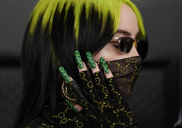Billie Eilish arrives for the 62nd Annual Grammy Awards on January 26, 2020, in Los Angeles. (Photo by Mike Blake/Reuters)