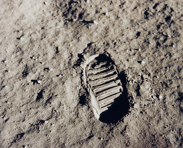 One of the first steps taken on the Moon, this is an image of Buzz Aldrin's bootprint from the Apollo 11 mission. Neil Armstrong and Buzz Aldrin walked on the Moon on July 20, 1969. (Photo by NASA)