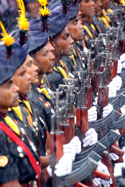Sri Lankan army soldiers during a welcoming ceremony for visiting Indian Prime Minister Narendra Modi at the Presidential Secretariat at Galle Face in Colombo, Sri Lanka 09 June 2019. Indian Prime Minister Narendra Modi arrived on the island for a short visit after touring the Maldives. This visit to Sri Lanka is his second international visit, since becoming Prime Minister of India for the second term. (Photo by M.A. Pushpa Kumara/EPA/EFE)