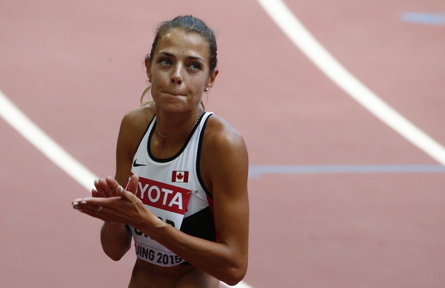 Melissa Bishop of Canada looks at the scoreboard after her women's 800 metres heat at the IAAF World Championships at the National Stadium in Beijing, China August 26, 2015. (Photo by David Gray/Reuters)
