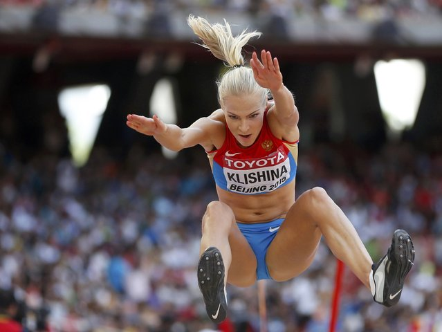 Darya Klishina of Russia competes in the women's long jump qualifying round during the 15th IAAF World Championships at the National Stadium in Beijing, China, August 27, 2015. (Photo by Phil Noble/Reuters)