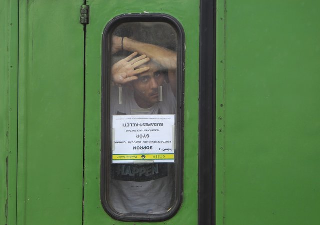 A migrant looks from behind a window in the carriage at the railway station in the town of Bicske, Hungary, September 3, 2015. (Photo by Bernadett Szabo/Reuters)