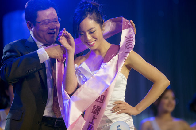 "Charis Chu receives two ribbons near the end of the pageant, for Miss Internet Favorite and for Miss Photogenic. Chu hopes to become a film director one day so that she can create more opportunities for Asian Americans. ""There are very limited roles for Asian Americans…when you go into an audition room for an Asian role, people start judging each other"", said Chu. (Photo and caption by John Brecher/Sahra Vang Nguyen/NBC News)"