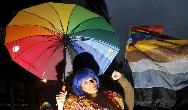 A reveller takes part in a Gay Pride parade in Valparaiso, Chile September 5, 2015. (Photo by Rodrigo Garrido/Reuters)