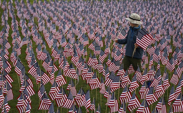A boy walks among some of the 3,000 flags placed in memory of the lives lost in the September 11, 2001 attacks, at a park in Winnetka, Illinois, September 10, 2015. (Photo by Jim Young/Reuters)