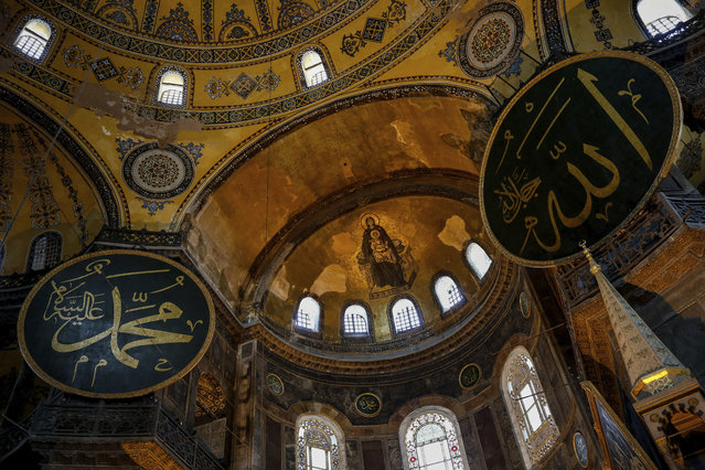 A view of the Byzantine-era Hagia Sophia, one of Istanbul's main tourist attractions in the historic Sultanahmet district of Istanbul, Thursday, June 25, 2020. The 6th-century building is now at the center of a heated debate between conservative groups who want it to be reconverted into a mosque and those who believe the World Heritage site should remain a museum. (Photo by Emrah Gurel/AP Photo)